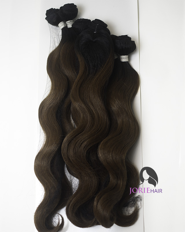 16 18 20 Body Wave Ombre Brown Human Hair Blend Weave