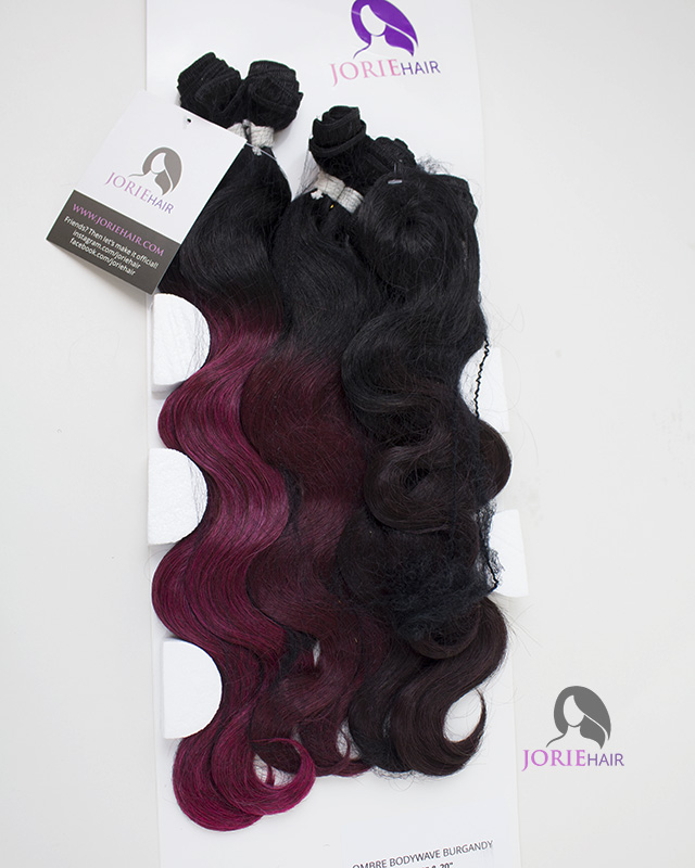 16 18 20 Body Wave Ombre Burgandy Set Human Hair Blend Weave