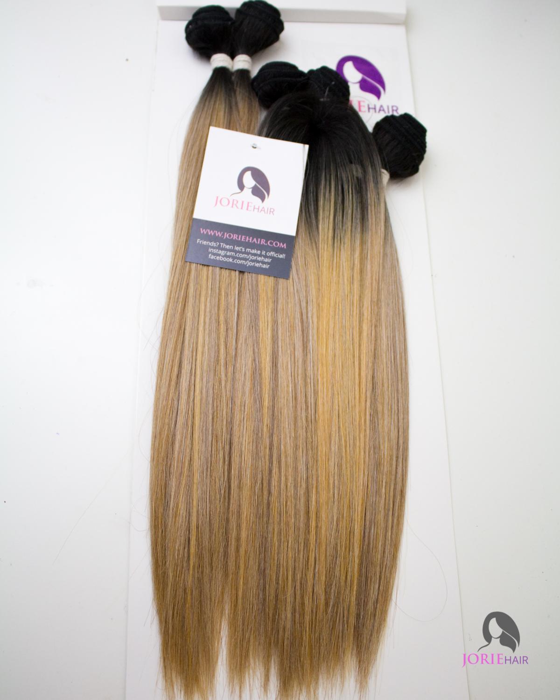 18 20 22 Straight Ombre Blonde Human Hair Blend Weave Jorie Hair