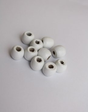 big hole white wooden hair bead
