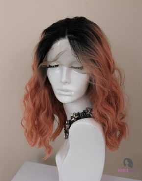 synthetic lace front wig ombre pink kimi