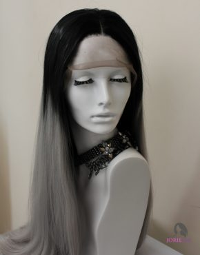 ombre grey synthetic lace front wig efa