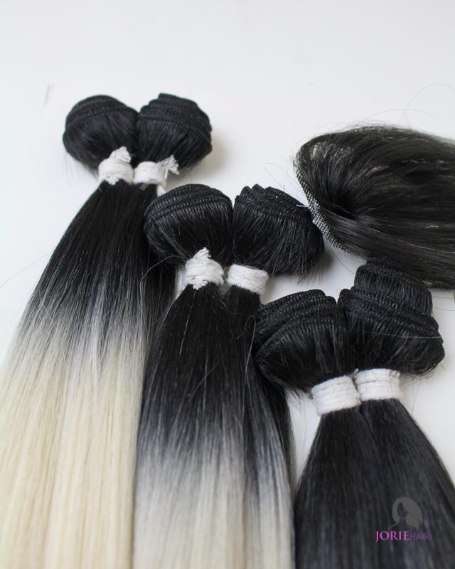 18 20 22 Straight Ombre Bleach Blonde Human Hair Blend Weave