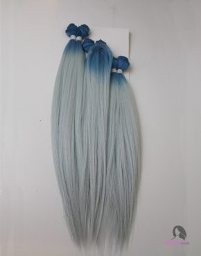 ombre blue grey human hair blend weave
