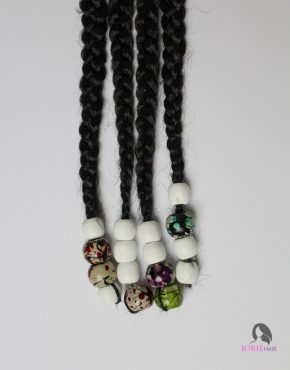 large hair beads printed white