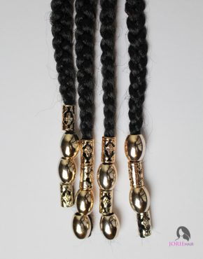 large hair beads gold beads