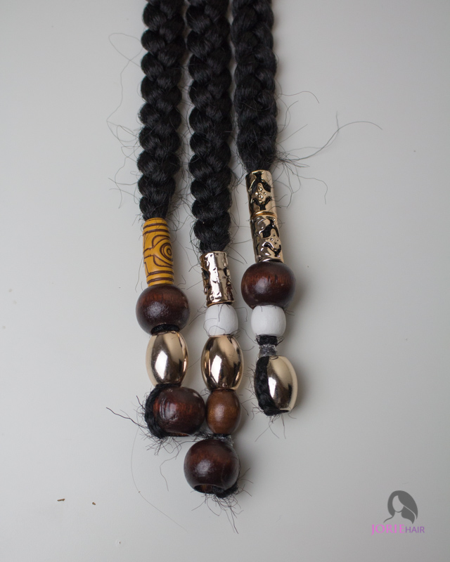 brown gold and white beads - braids and beads