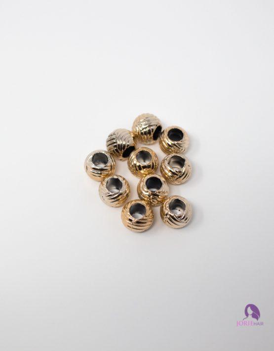 gold textured round beads