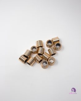 Textured Gold Cylinder Beads