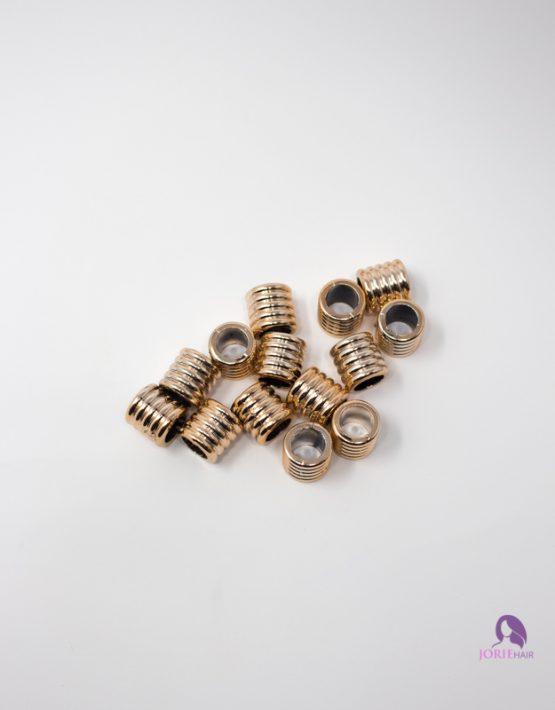 gold beads cylinder textured