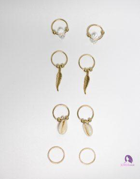hair rings bead cowrie leaf