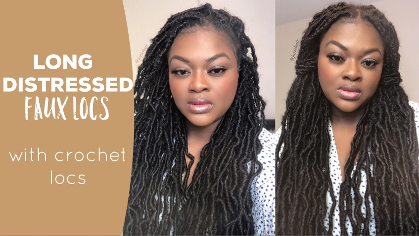 cover distressed faux locs using crochet